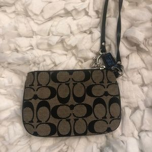 Coach Black Monogram Wristlet
